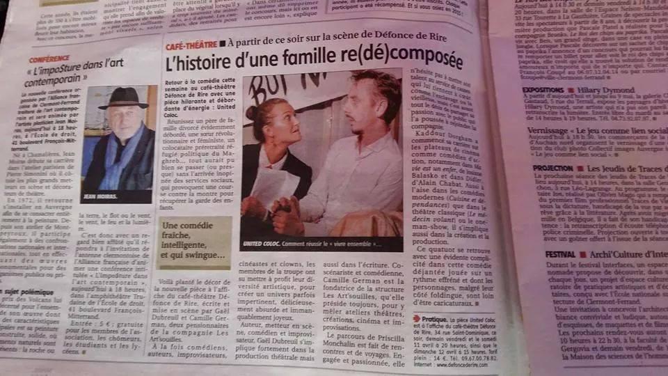 Un bel article dans la Montagne pour le passage de United Coloc à Clermont-Ferrand