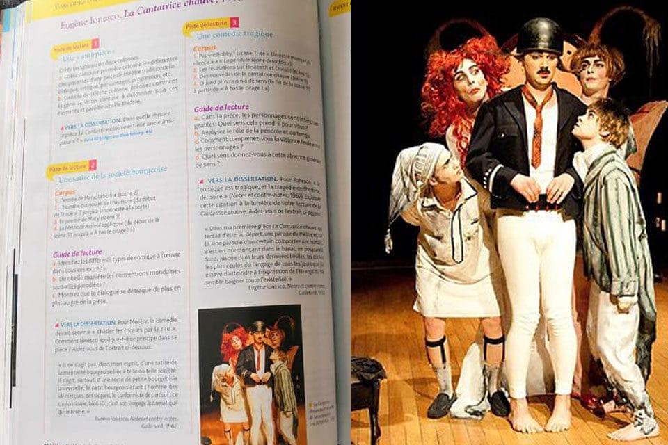 Notre Cantatrice Chauve dans un manuel scolaire